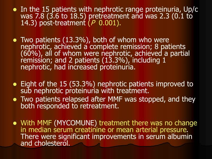 In the 15 patients with nephrotic range proteinuria, Up/c was 7.8 (3.6 to 18.5) pretreatment and was 2.3 (0.1 to 14.3) post-treatment
