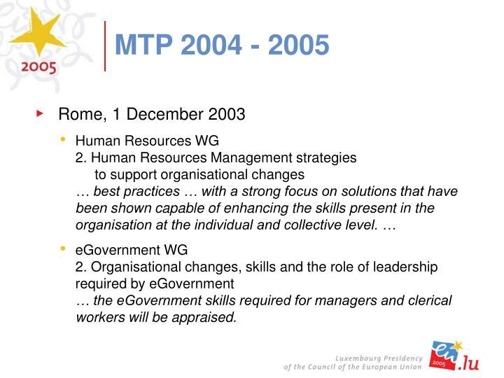 MTP 2004 - 2005
