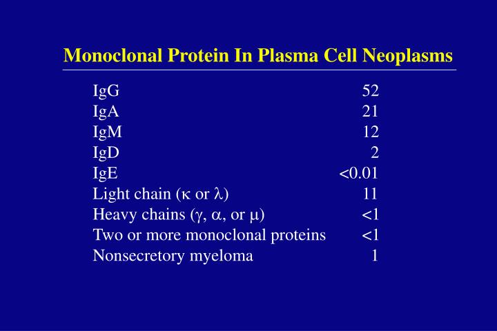 Monoclonal Protein In Plasma Cell Neoplasms