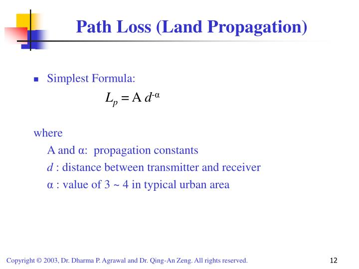 Path Loss (Land Propagation)