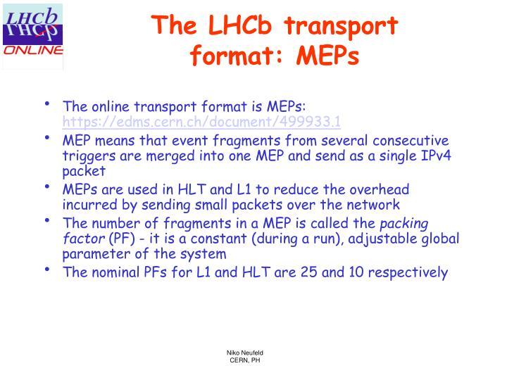 The LHCb transport format: MEPs