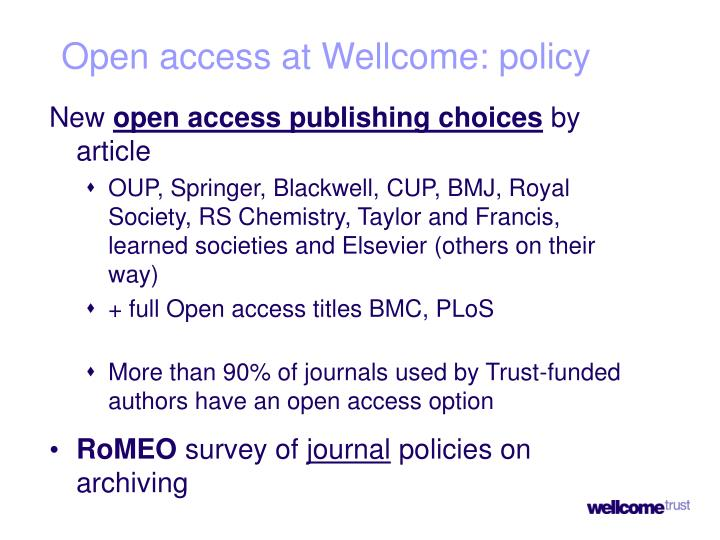 Open access at Wellcome: policy