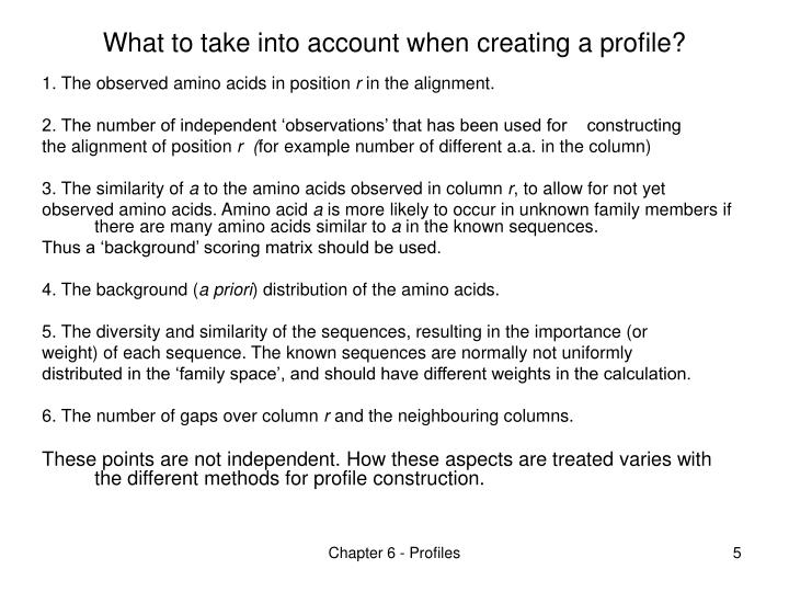 What to take into account when creating a profile?