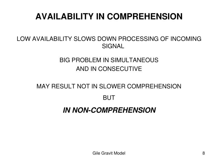 AVAILABILITY IN COMPREHENSION