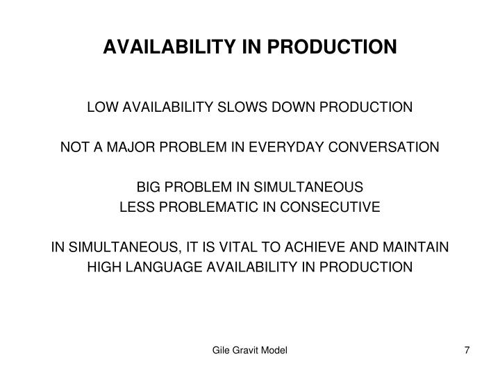AVAILABILITY IN PRODUCTION