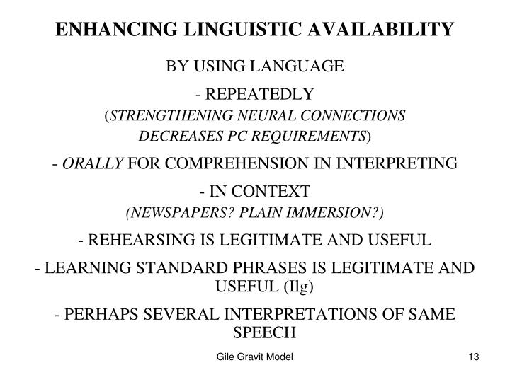 ENHANCING LINGUISTIC AVAILABILITY