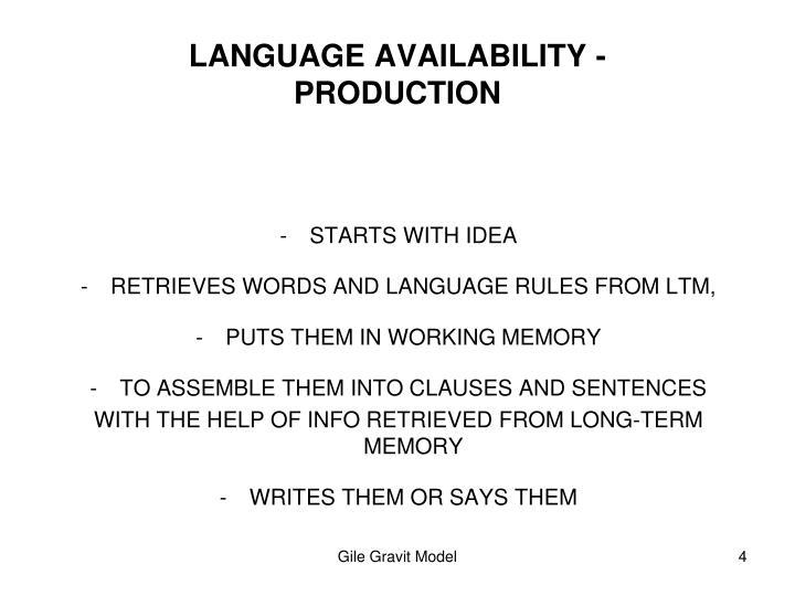 LANGUAGE AVAILABILITY -