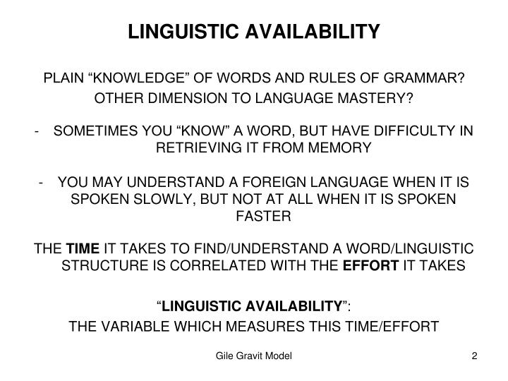 Linguistic availability