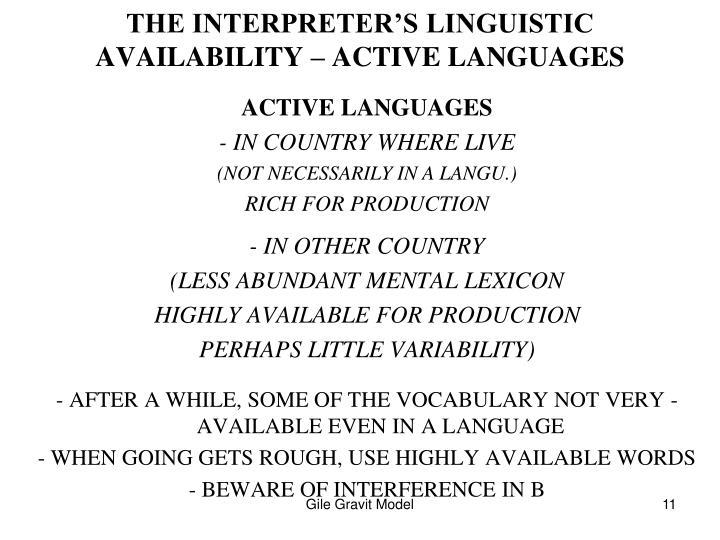 THE INTERPRETER'S LINGUISTIC AVAILABILITY – ACTIVE LANGUAGES