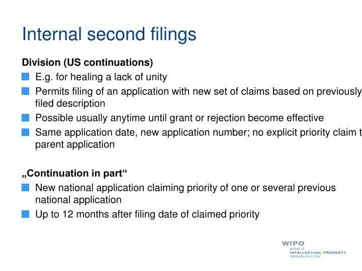 Internal second filings
