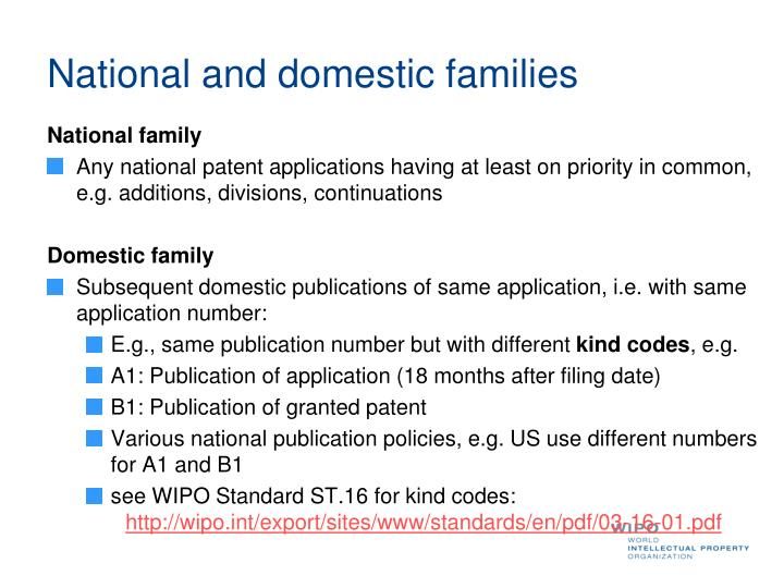 National and domestic families