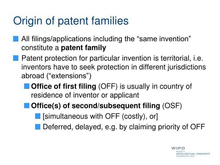 Origin of patent families