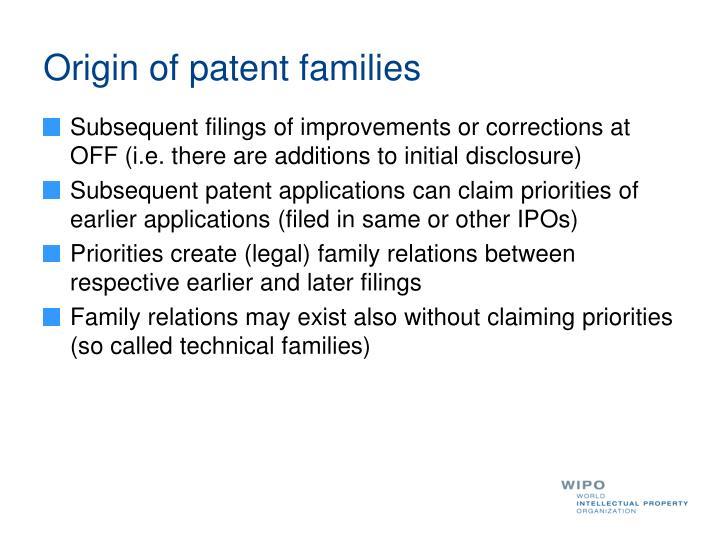 Origin of patent families