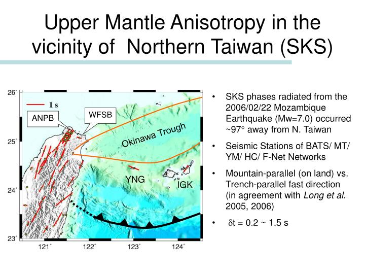 Upper Mantle Anisotropy in the vicinity of  Northern Taiwan (SKS)