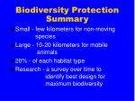biodiversity protection summary