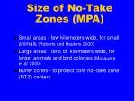 size of no take zones mpa