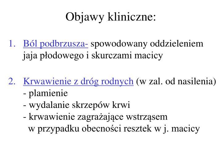 Objawy kliniczne: