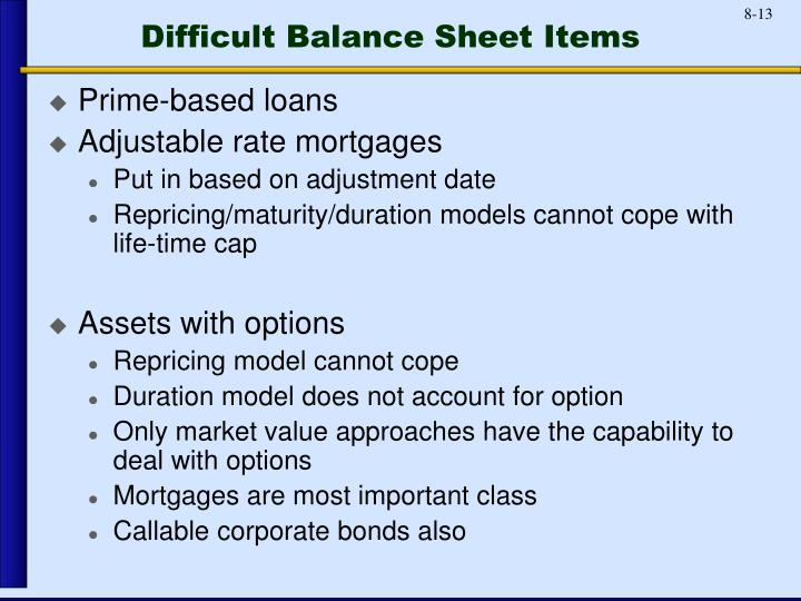 Difficult Balance Sheet Items