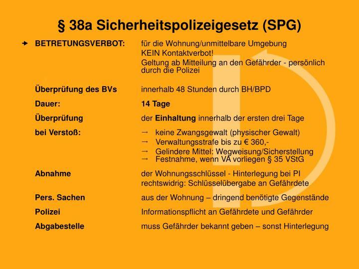 § 38a Sicherheitspolizeigesetz (SPG)