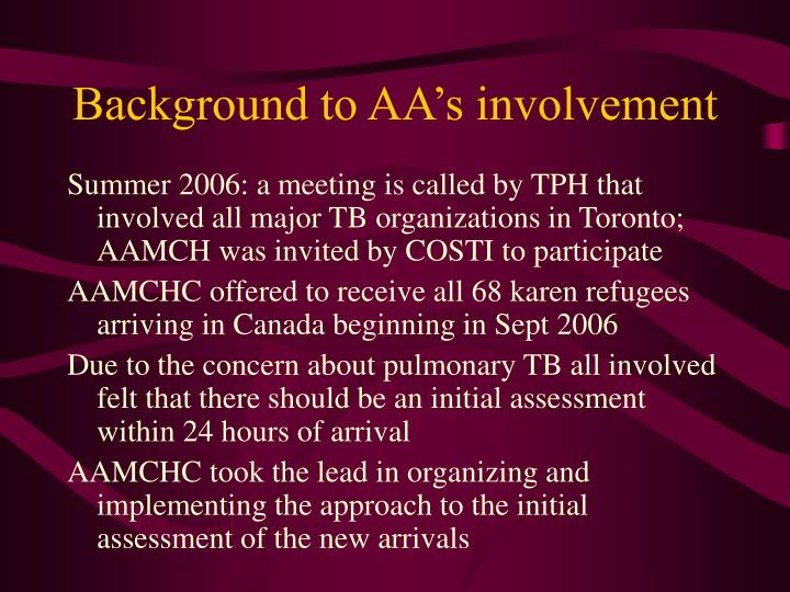 Background to AA's involvement