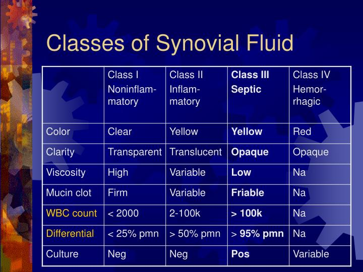 Classes of Synovial Fluid