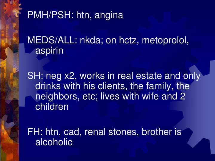 PMH/PSH: htn, angina