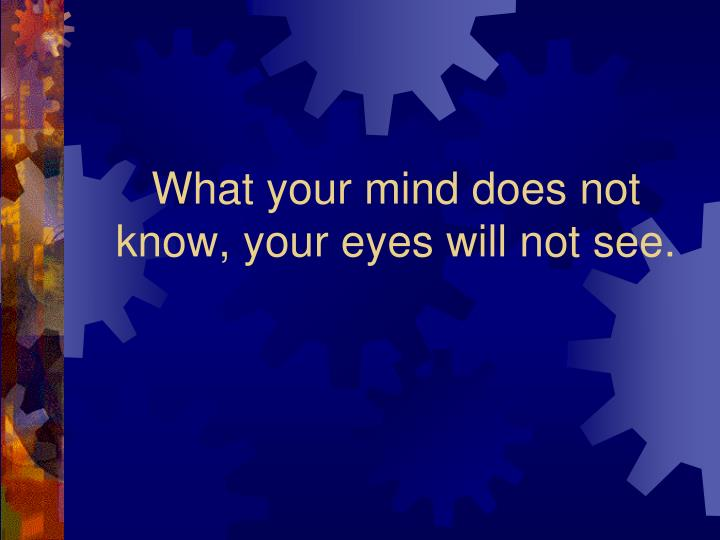 What your mind does not know, your eyes will not see.