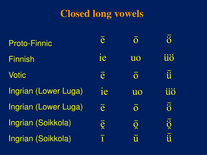 Closed long vowels