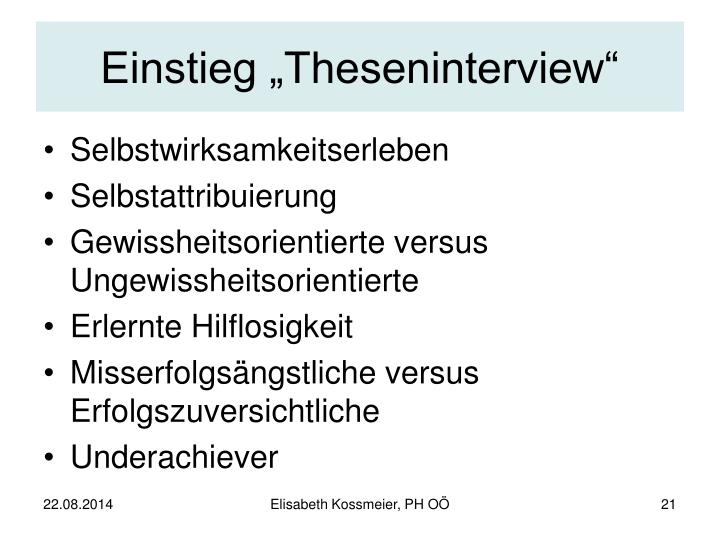"Einstieg ""Theseninterview"""