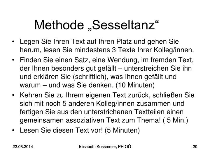"Methode ""Sesseltanz"""