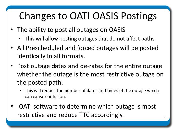 Changes to OATI OASIS Postings