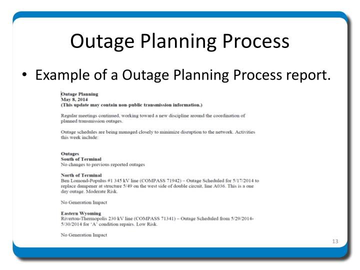 Outage Planning Process