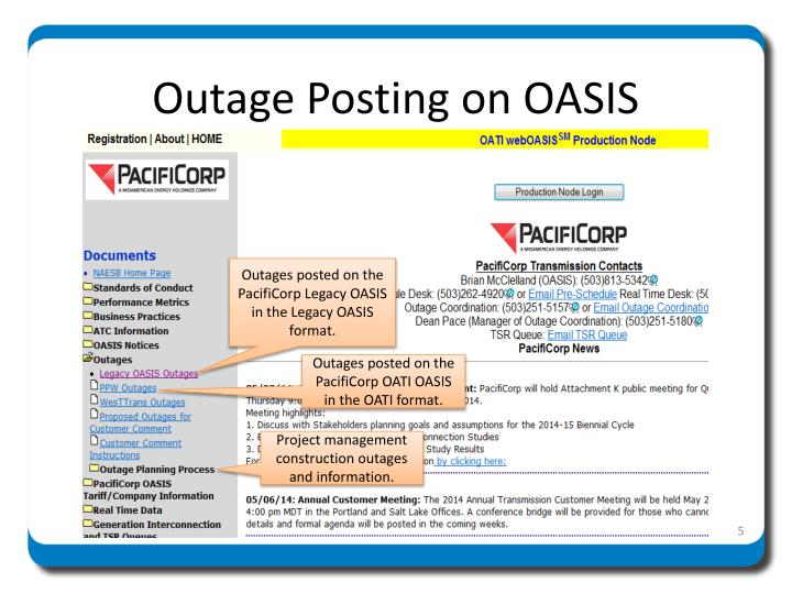 Outage Posting on OASIS