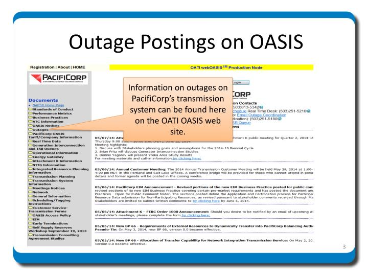 Outage Postings on OASIS