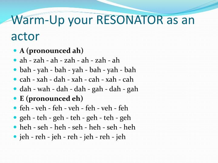 Warm-Up your RESONATOR as an actor