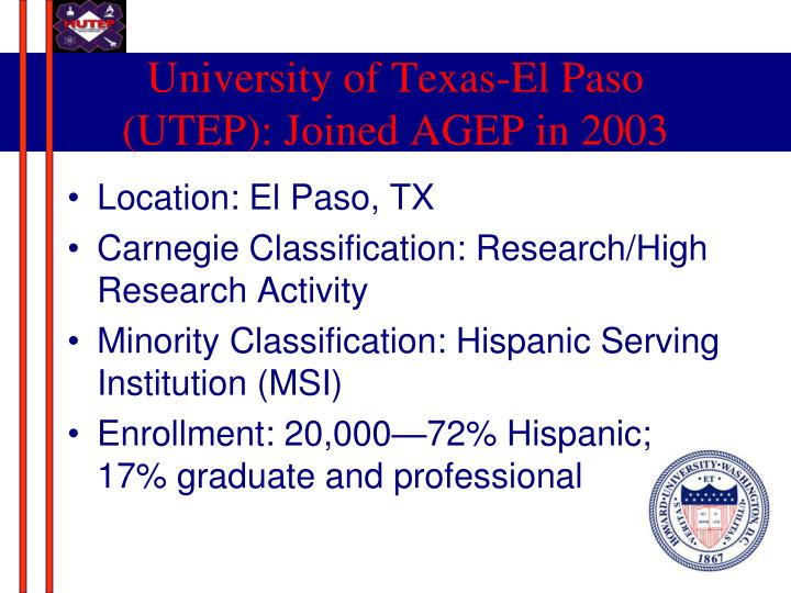 University of Texas-El Paso (UTEP): Joined AGEP in 2003