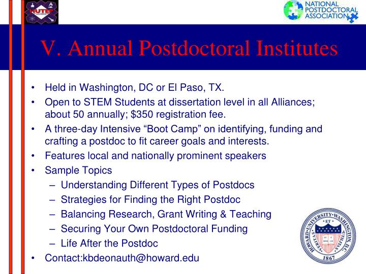 V. Annual Postdoctoral Institutes