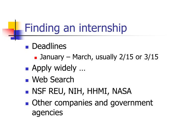 Finding an internship