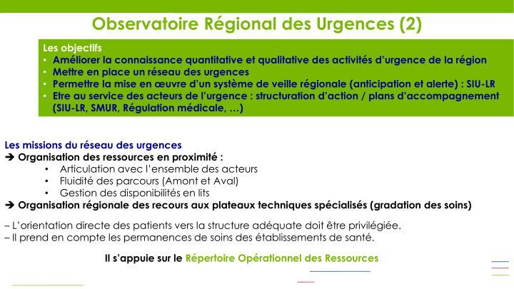 Observatoire Régional des Urgences (2)