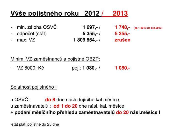 Výše pojistného roku   2012