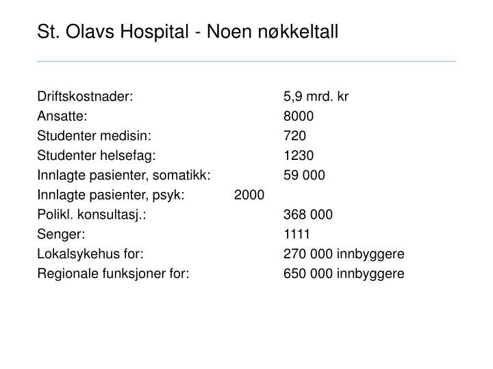 St. Olavs Hospital - Noen nøkkeltall