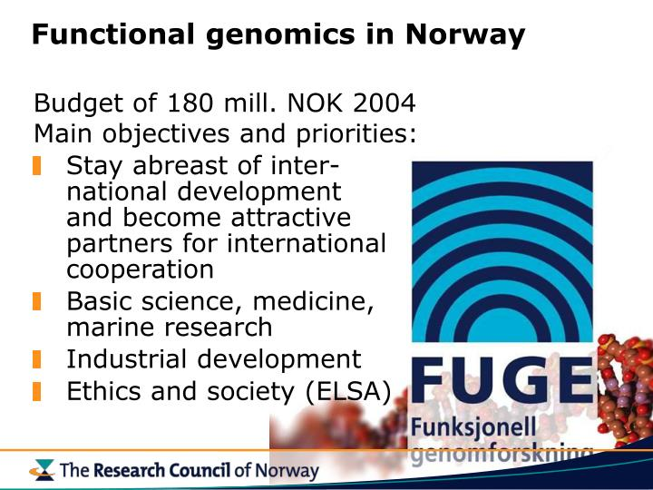 Functional genomics in Norway