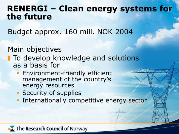 RENERGI – Clean energy systems for the future