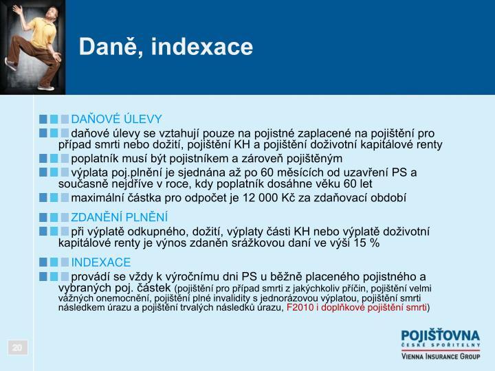 Daně, indexace