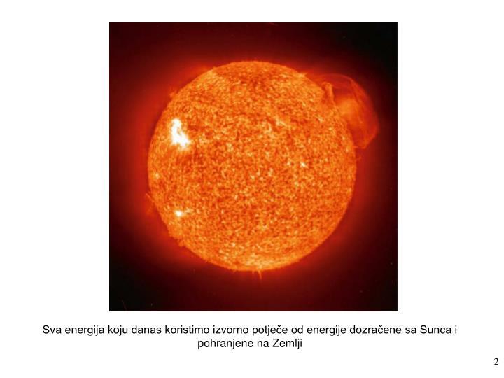 Sva energija koju danas koristimo izvorno potječe od energije dozračene sa Sunca i pohranjene na Zemlji