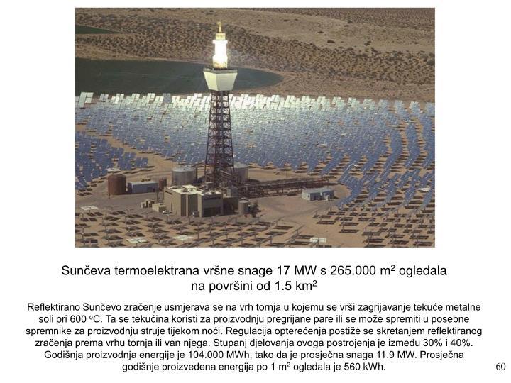 Sunčeva termoelektrana vršne snage 17 MW s 265.000 m