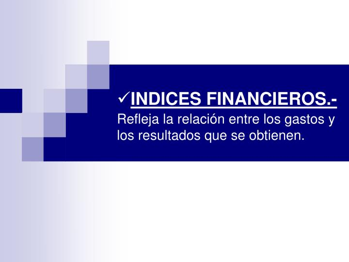 INDICES FINANCIEROS.-