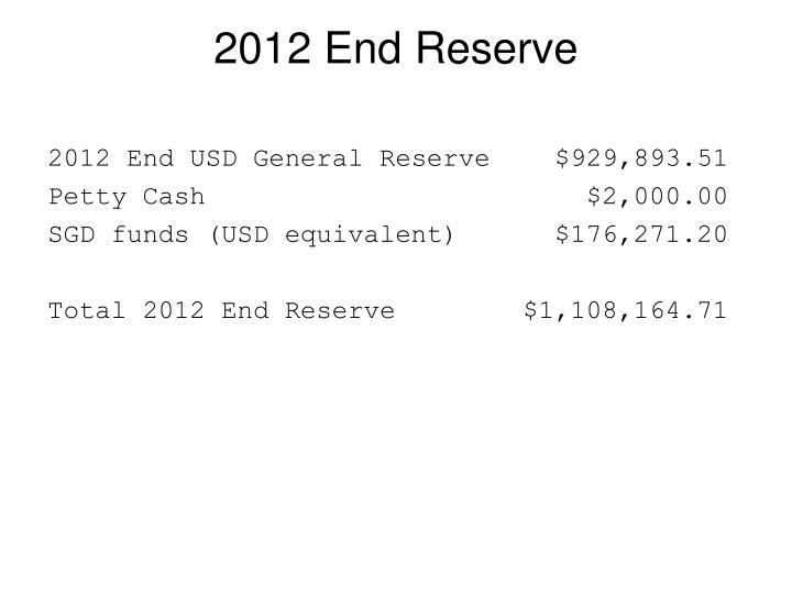 2012 End Reserve