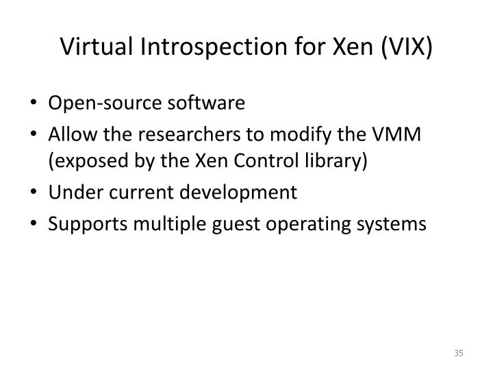 Virtual Introspection for Xen (VIX)