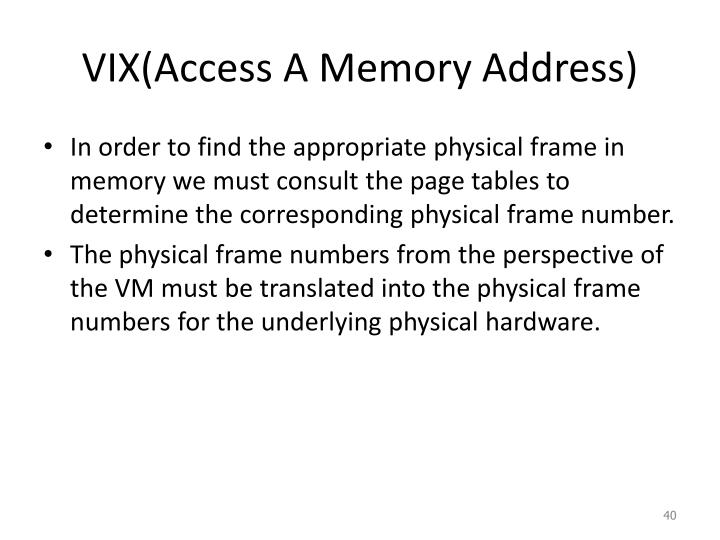 VIX(Access A Memory Address)